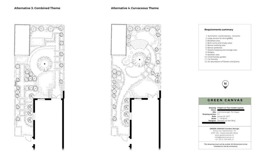 Alternatieve tuinontwerpen, combinatie van vormen en een zwieriger variant